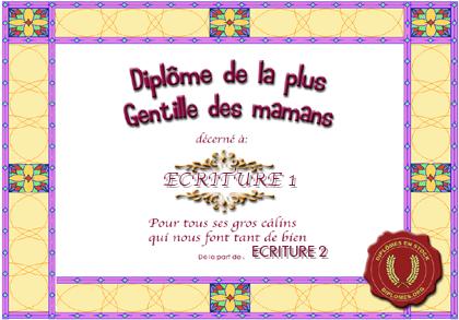 Diplome pour maman - Diplome de cuisine a imprimer ...